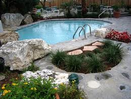 landscaping around a pool